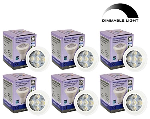 6 Pack: Allcam Dimmable Dimmbar LED GU10 Bulbs 5W Bright Daylight Cool White 6000K kaltweiss, Replace 35-50W Halogen Lights, 48mm Height, Perfect as LED Spotlight or Downlights