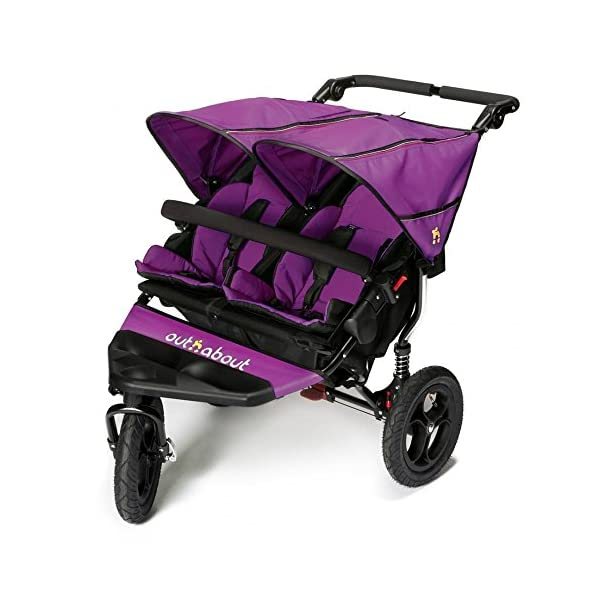 Out 'N' About Nipper Double V4 - Purple Punch Out 'n' About LATEST V4 MODEL Twin independant sun canopy's & peek-a-boo window & auto-locking fold NARROW 72cm WIDTH! All-terrain 3-Wheeler pushchair, suitable for use from Birth to 4 years (approx) Independent Multi-position adjustable backrest, including lie flat with 5-Point Safety Harness 1