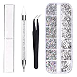 Kungfu Mall 4 Sizes AB Nail Crystals Clear Rhinestones and Art Rhinestones with Pick Up Tweezer and Rhinestone Picker Dotting Pen, Nail Art Tools for Crafts Nail and Face