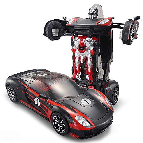 Kikioo Transformar Los Juguetes Robot De Coches Rc Recargables Modelos Remotos Inalámbricos Robot De Deformación Con Un Solo Botón De Voz 360