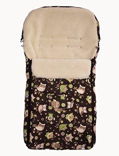 Baby-Joy Fußsack KAI XL105cm Lammwolle Winterfußsack Optional mit WUNSCHNAME: Farbe: 42 Braun Eule