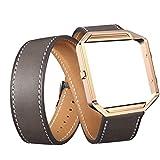 YuStar Smart Watch Ersatz Riemen Band, Doppelter Ring Luxus Lange Leder Watchbands adjustbable Armband mit Metall Rahmen Halterung für Fitbit Blaze M Grau