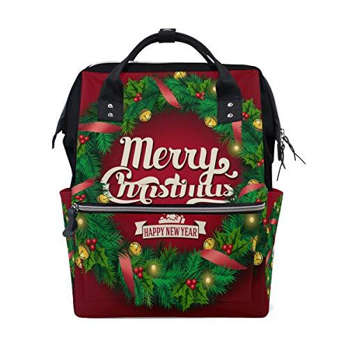 Frohe Weihnachten Frohes Neues Jahr Grüner Kranz Große Kapazität Windel Taschen Mama Rucksack Multi Funktionen Wickeltasche Tasche Handtasche Für Kinder Baby Care Travel Täglichen Frauen