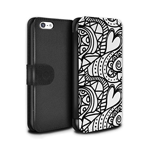 Stuff4 Coque/Etui/Housse Cuir PU Case/Cover pour Apple iPhone 5C / Coeurs Transparents Design / Mode Noir Collection Tourbillon/Cour