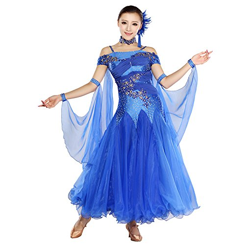 ZTXY Damen Hand Bestickt Modern Dance Kleid Große Pendel Rock GB Dance Kleid Tanzwettbewerb Performance Kleid Strass Tanz Kostüm Tango Walzer Rock,Blue,XL