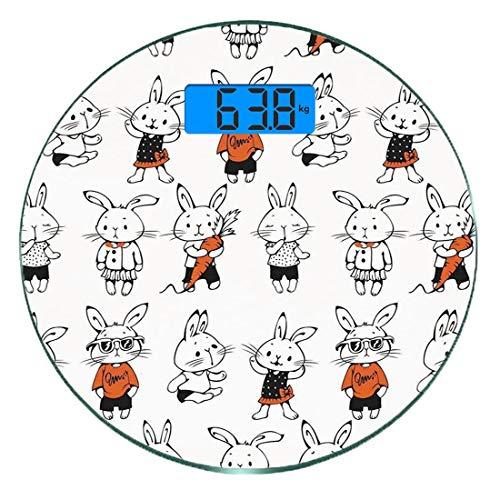 Kostüm Haar Bunny - Digitale Präzisionswaage für das Körpergewicht Runde Lustig Ultra dünne ausgeglichenes Glas-Badezimmerwaage-genaue Gewichts-Maße,Niedliche Retro Häschen mit Kostümen Jack Hare Funky Bunnies Carrot Ske