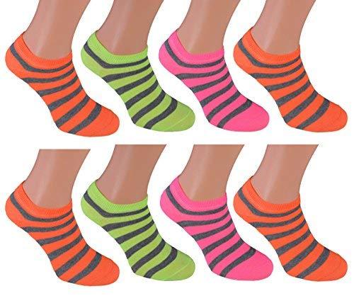 8 Paar Sneaker 35/38 Söckchen Neonfarben sneaker-socken weiß farbige kurze strümpfe damen farbige Frauen sneakers-socken kurze socken billige damen schwarz grelle socken Frau Frauen neon