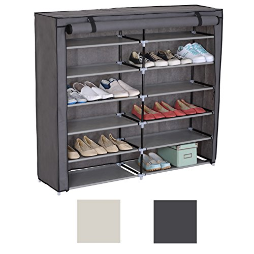 ca Relaxdays Schuhschrank H x B x T beige 151 x 60 x 30 cm Faltschrank Textil f/ür 36 Paar Schuhe Stoffschrank mit 9 Ablagen Stoffschuhschrank sch/ützt vor Staub und N/ässe Schuhablage zum Falten