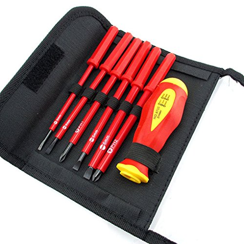 Lorsoul 7PCS / Set Isolierte Schraubendreher-Satz, Elektriker CR-V geschlitzt PH/SL 1000 V, High Voltage Resistant Tools Hand -