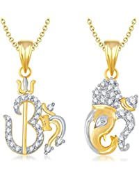 Meenaz Om Ganpati God Pendant&Locket With Chain Jewellery Set Gold Plated Cz In American Diamond For Men&Women...