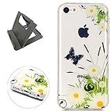 Keyye iPhone 5C Hülle, Transparent Weiche Silikon Schutzhüll Kratzfest Gummi Weich Kristal TPU Schutzhülle Skin Shell mit bunten Muster Design-schmetterling daisy