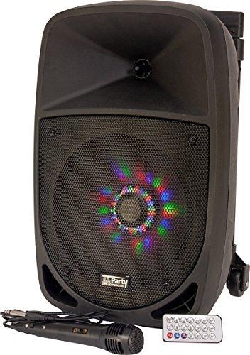 Party Light & Sound PARTY-8LED Tragbares Soundsystem, 20 cm (8 Zoll), 300W mit USB, Bluetooth, FM und Mikrofon, 1 Stück (Karaoke Sound)