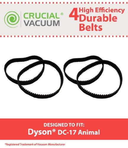 4Dyson DC17Lange Lebensdauer Durable Gürtel, 4Pack zugeschnitten Anpassung an Dyson Staubsauger Besen DC17; Vergleichen zu Dyson Staubsauger Teil # 911710–01; Entworfen und Hergestellt von Crucial Vacuum