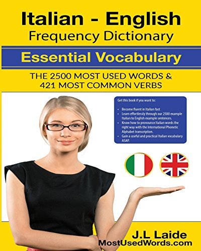 [Epub]Book Italian English Frequency Dictionary – Essential Vocabulary: 2500 Most Used Words & 421 Most Common Verbs