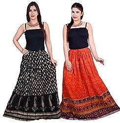 Jaipuri Print Cotton Skirt Combo Pack of 2
