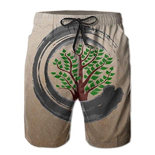 Pantalones Cortos Casuales de Verano para Hombre Bonsai Tree Zen Custom Pantalones Cortos con Bolsillos Troncos de natación de Secado rápido, Tamaño XL