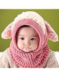 Wuiyepo Hiver bébé Enfants Filles Garçons Réchauffez Coif Capuche Écharpe Caps Chapeaux chapeau