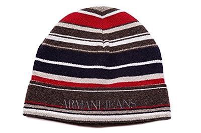 Armani Jeans men's wool beanie hat striped brown
