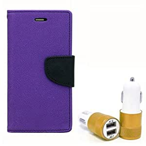Aart Fancy Diary Card Wallet Flip Case Back Cover For Samsung 7562 - (Purple) + Dual ports USB car Charger With Ultra Power Technolgy by Aart Store.