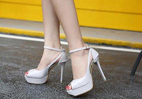 Beauqueen Pompini piattaforma Peep Toe Piattaforma Stiletto Heels Alta tacco Scarpe da sposa Scarpe OL Style apricot