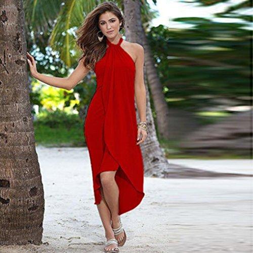 Manadlian-Robes Longue, Robe Ete Femme Robe de Soirée Longue Femmes Robe Longue Robe de Soirée Longue Robe de Plage Rouge