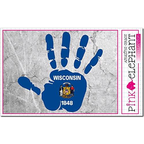 er / Autoaufkleber - Wisconsin - rechte Hand - Fahne - 10 cm x 9,5 cm - finger print palm slap handabdruck mano (Green Bay Packers Fahne)