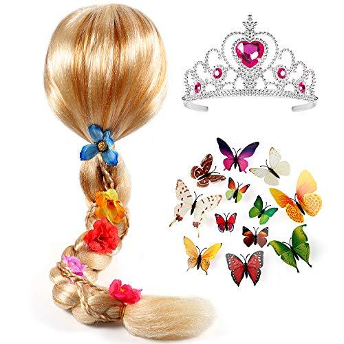 Tacobear Prinzessin Rapunzel Perücke Zopf mit Prinzessin Kaiserkrone und Schmetterling Pin Badge Prinzessin Rapunzel Sofia Kostüm Zubehör für Kinder Mädchen