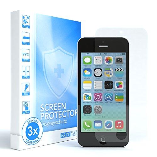 EAZY CASE 3X Apple iPhone 5 / 5S / 5C / SE Panzerglas 9H Härte 3D-Touch kompatibel Schutzglas aus gehärtetem 2,5D Panzerglas (nur 0,3 mm dick), Displayschutzglas, Kristallklar