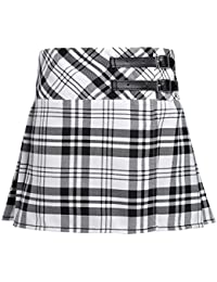 Kids Girls Tartan Skirt Kilt Bow Check Elasticated 5-10 Yrs Old School Uniform