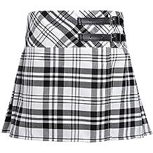 TiaoBug Niñas Falda Escolar Corta de Cuadros Escocesos Falda Plisada Algodón de Universidad Colegio Cintura Elástica