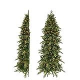 triumph tree 215 cm HALBER künstlicher Weihnachtsbaum Emerald grün mit Beleuchtung 176 LEDs Warmweiß, Zweige 1173, mit Metallständer – Tannenbaum Schmal – Christbaum