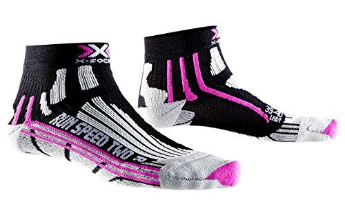 X-Socks Run Speed Two Lady - Calza Running, Donna, Nero (Black/Fuchsia), 37/38