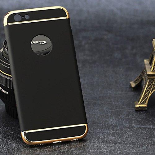 Auntwhale iPhone6   Plus Fall 3 In 1 Matte Telefon Fall für iPhone6   Plus Fingerabdruck beständig, schweißresistent.Verteilt Schutz vor Kratzern, Stößen, Schmutz, Fett - Schwarz -