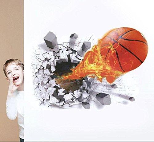 ins Nordic Cartoon Wandaufkleber, Acryl 3D Wandaufkleber, Umweltfreundliche Materialien, Einzigartige Form, Lebendige, Geeignet FüR Kinderzimmer Dekoration, Big, 3D Basketball Gute Qualität