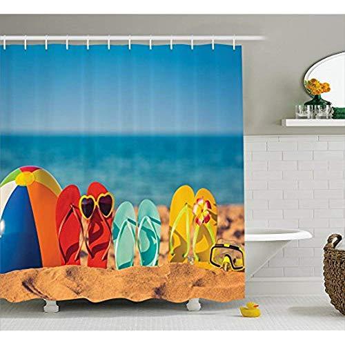 Yeuss Rideau de Douche Estival, Tongs sur Une Plage Sable et détente sous-Marine avec Masque Tuba au Soleil,Vue Amusante,Rideau en Tissu
