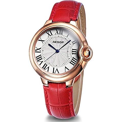 downj da donna al quarzo orologio da polso quadrante argento oro rosa acciaio inossidabile Rosso Pelle Orologio da donna