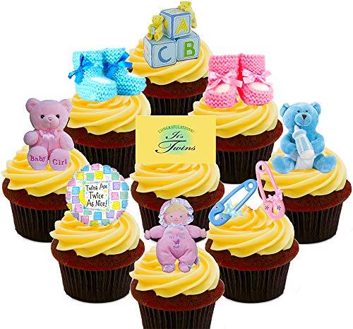 Baby Dusche Twins, Jungen und Mädchen/Pink und Blau, essbaren Kuchen Dekorationen-Stand-Up Wafer Cupcake Topper, Pack of 36 (Twin Baby-dusche-dekorationen)