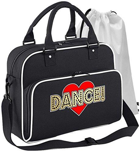 Ballet Dancer - Love Dance - Schwarz + Weißes White - Tanztasche & Schuh Tasche Dance Bags MusicaliTee (Store-line Bras)