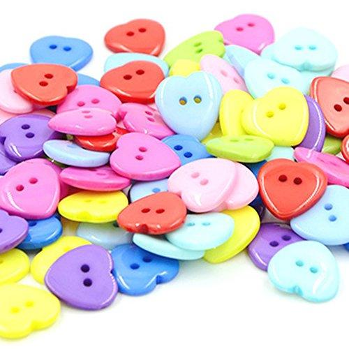 Qinlee Knöpfe Niedliche Herz Form Knöpfe Bunt Knöpfe Nähzubehör Neuheit Handwerk Knöpfe (100 Stück )Zufällige Farbe (Nähen Neuheit Knöpfe)