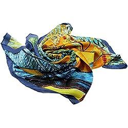 VANKER 90 * 90cm Mujeres Pintura de Seda Cuadrado satén Suave Abrigo de la Bufanda Pañuelos Pañuelo-anacardo