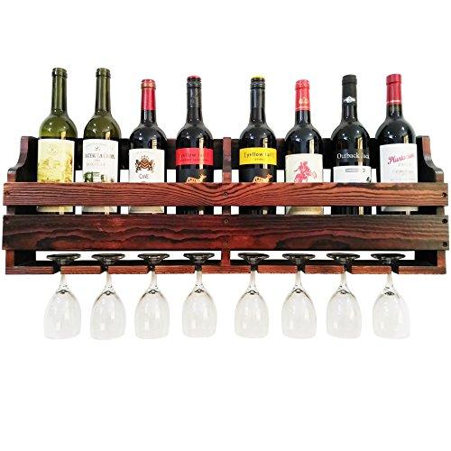 TUORUI Weinregal, Wein Glas & Wein Flasche Display Rack, Kiefernholz, Wand MOUNTE, 8Flasche 8Langer Stiel Glas Halter (Anthrazit Walnuss Farbe)