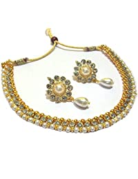 Shree Mauli Creation White Alloy With Pearl Drop Flower Golden Polki Necklace Set For Women SMCN53