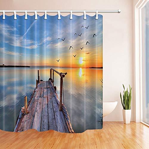 EdCott Möwe bei Sonnenaufgang Dekor Holz Plank Deck am Meer Bad Vorhang Polyester Stoff Wasserdicht Duschvorhang 71X71 in Duschvorhänge Haken enthalten Orange Blau -
