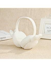 HeiPlaine - Auriculares de Peluche Plegables con Orejas de Conejo para Invierno, 1 Pieza Blanco Blanco 13.5cm