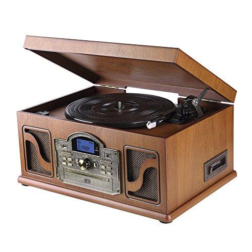 Lauson CL607 Stereo-Anlage Plattenspieler mit eingebauten Lautsprechern Bluetooth ( USB, Kassette, CD-Player und Radio ) Braun