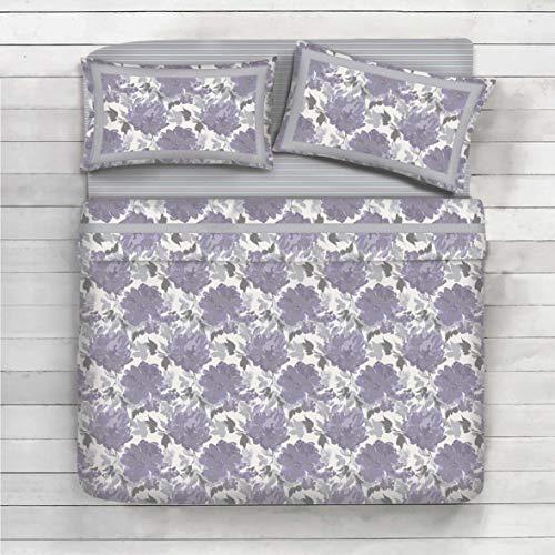 Completo lenzuola 100% cotone matrimoniale - disegno rose acquarello (lilla)