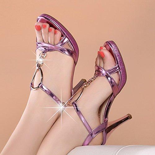 Medie scarpe tacco Pesce High Water Resistant Tallone Piattaforma Belle sandali femminili della punta della rugiada diamante Shoes Rosa purple