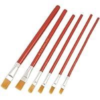 In pelliccia sintetica, colore: Rosso, con manico in legno, pennelli per pittura a olio, confezione da 6 pezzi - 6 Spazzola Di Arte