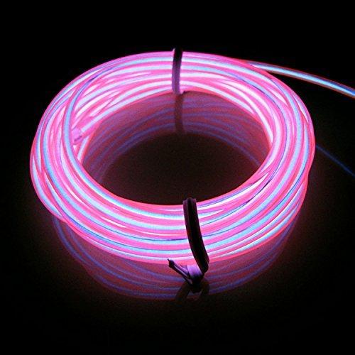 Lerway® 3M Elektrolumineszenz EL Wire Rope Kabel LED Licht für Weihnachten Party, Beleuchtet, Werbeschild Sign,Flexibles Streifen Haustier Kragen-Rosa