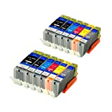 12 Druckerpatronen für Canon PGI-550 CLI-551 XL IP-7250 8750 IX-6850 MG-5450 5550 6350 6450 7150 MX-725 925, inkl. Grau